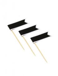 11 Stuzzicadenti con bandiere adesive nere