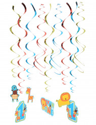 12 spirali da appendere Compleanno bimbo 1 anno