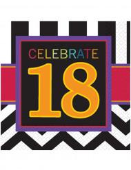16 tovaglioli di carta per compleanno dei 18 anni di 33 x 33 cm