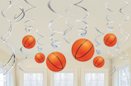6 festoni sospesi con palloni da basket in cartoncino