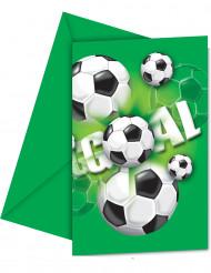 6 biglietti d'invito di carta a tema calcio