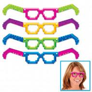 4 paia di occhiali 8-Bit di cartone in stile anni '80