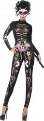 Costume da scheletro per donna colorato