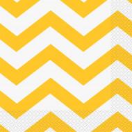 16 Tovaglioli di carta motivo a zig-zag gialli 33 x 33 cm