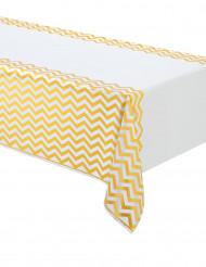 Tovaglia in plastica motivi a zig zag giallo bianco