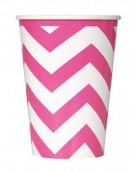 6 bicchieri di carta con motivo zig-zag rosa 355ml