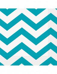 Confezione 16 tovaglioli di carta bianco e turchese