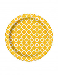 Set di 8 piattini gialli in cartone Grafik di 17 cm