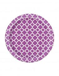 8 Piccoli piatti in cartone Grafik color violetto misura 17cm