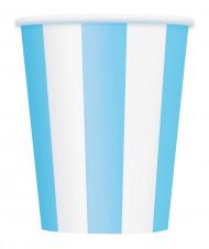 6 bicchieri in carta a strisce bianche e azzurre dalla capacità di 355 ml