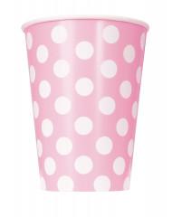 6 bicchieri di carta rosa a pois bianchi 355 ml