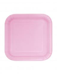 6 Piatti quadrati piccoli di cartone in rosa chiaro da 17 cm