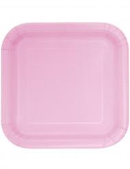 14 piatti quadrati in cartone rosa confetto 22 cm
