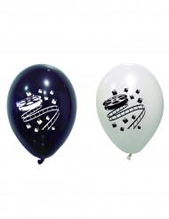 8 palloncini in lattice bianchi e neri a tema Cinema
