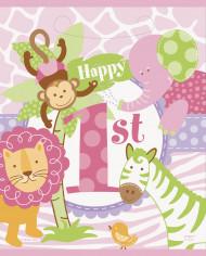 8 sacchetti regalo con stampa giungla per il 1? anno di una bimba
