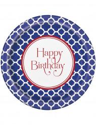 8 piatti in cartone con la scritta Happy Birthday