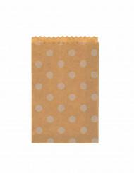 20 sacchetti di carta colore marrone a pois bianchi