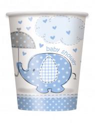 8 bicchieri di carta con elefante blu, capacità 25 cl