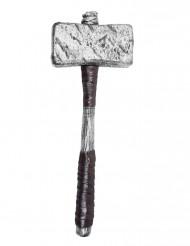 Finto martello argentato in plastica per adulto