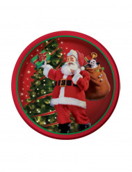 8 piattini decorati da Babbo Natale 18 cm