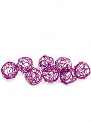 12 palle decorative in metallo color prugna 2 cm