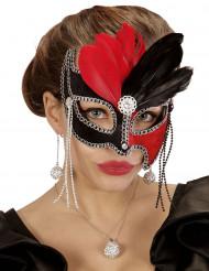 Maschera di Carnevale bicolore per adulto con piume rosse e nere