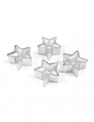 4 candele scaldavivande a stella color argento 4cm