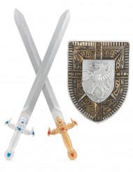 Kit accessori scudo e 2 spade stile gladiatore bambino