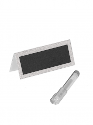 Segnaposti in paillettes argento con penna