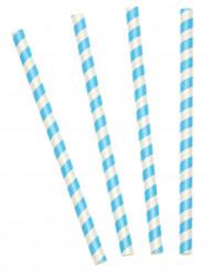 10 cannucce in plastica a spirale turchese e bianca