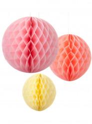 3 palle a sospensione in tinte pastello