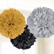 3 decorazioni di carta a forma di pompon