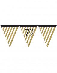 Festone con gagliardetti neri e oro 70 anni 3,7 m