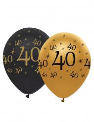 6 Palloncini neri ed oro 40 anni