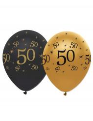 6 Palloncini oro e neri numero 50