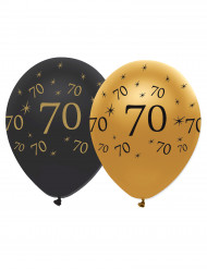 Confezione palloncini nero e oro 70 anni