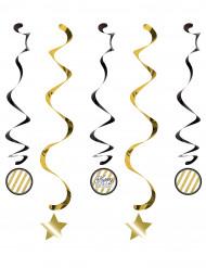 5 sospensioni spirale Compleanno nero oro