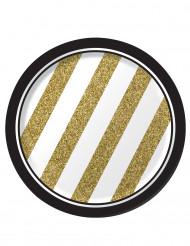 8 piattini di compleanno nero e oro 18 cm