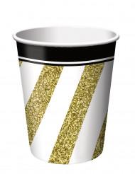 8 bicchieri in cartone nero e oro