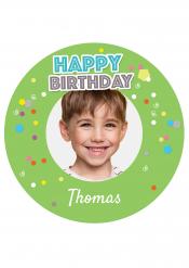 Disco di zucchero personalizzabile Happy Birthday verde
