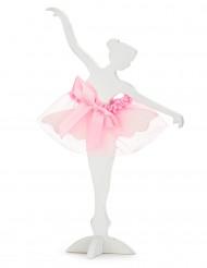 Ballerina in legno bianco e tulle rosa