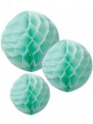 3 sfere di carta a nido d'ape color menta 15, 20, 25 cm