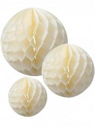 3 sfere in carta alveolata color avorio dal diametro di 15 cm, 20 cm e 25 cm