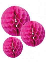 3 sfere di carta alveolata fucsia 15, 20 e 25 cm