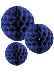3 Sfere di carta a nido d'ape blu scuro da 15 cm 20 cm e 25 cm
