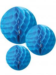 3 Sfere in carta a nido d'ape turchese cm 15, 20 e 25