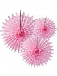 3 rosette a ventaglio di carta rosa 20, 30, 40 cm