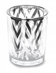Portacandela in vetro con zig zag argentati