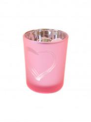 Portacandele in vetro smerigliato rosa con cuore
