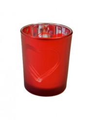 Portacandele in vetro satinato rosso cuore